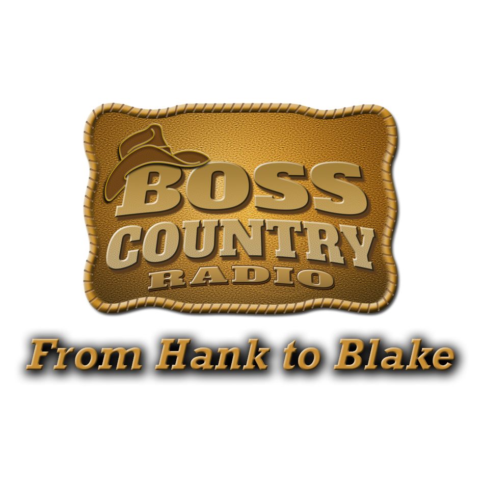 belt buckle with boss country radio embossed on it